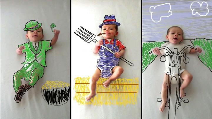 صور احترافيه في استخدام برنامج الرسام على صور طفل صغير
