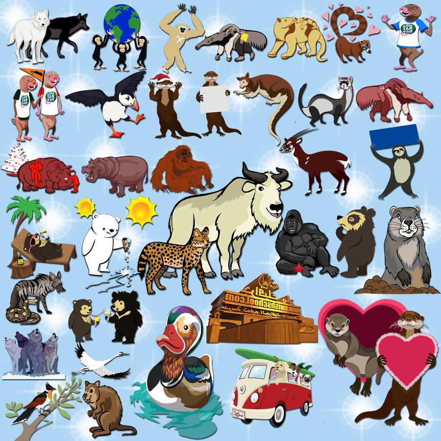 سكرابز رسوم مختلفه لمجموعه من الحيوانات png