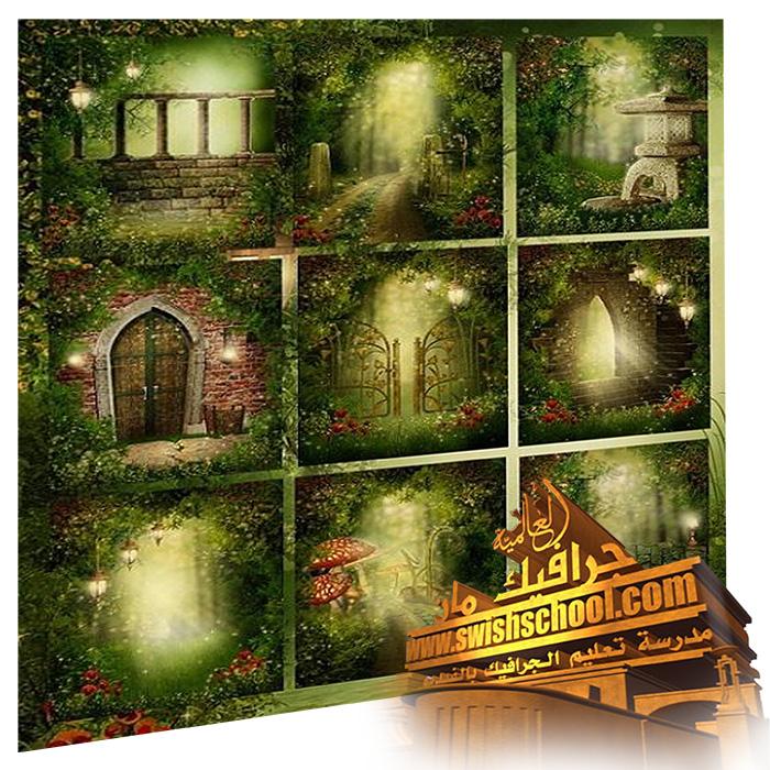 خلفيات فيري حدائق غناء خضراء  عاليه الجوده للاستديوهات والتصميم