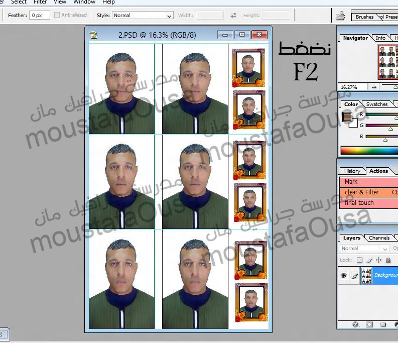 اكشن لعمل 6 صور مقاس 4 في 6 + 6 صور صغيرين  + الشرح بالصور