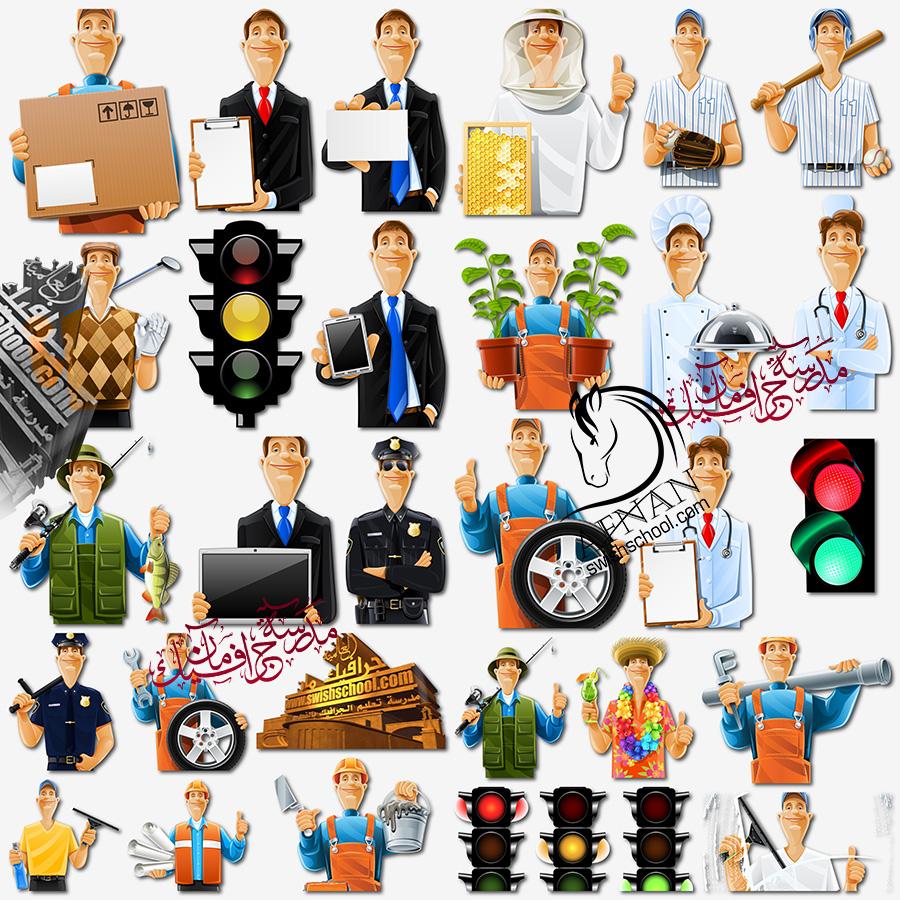 صور عمال كارتون واشارات مرور بدون خلفيه لتصاميم الدعايه والاعلان png