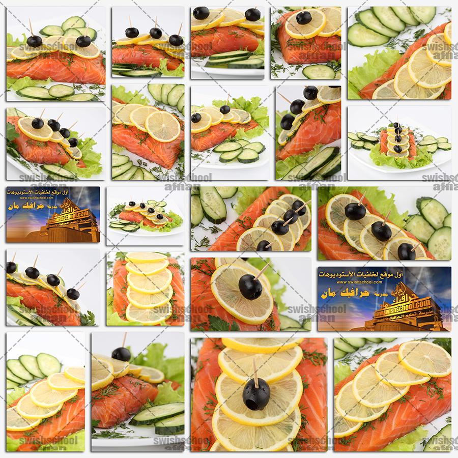 ستوك فوتو شرائح سمك احمر مع ليمون مقطع لاصحاب المطاعم والوجبات البحريه عالي الجوده jpg