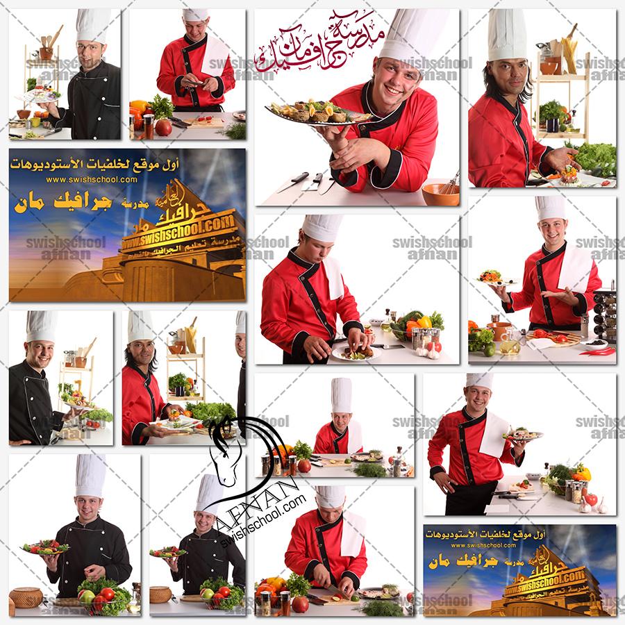 ستوك فوتو شيف طباخ مع اطباق الطعام عاليه الجوده للفوتوشوب والدعايه والاعلان jpg