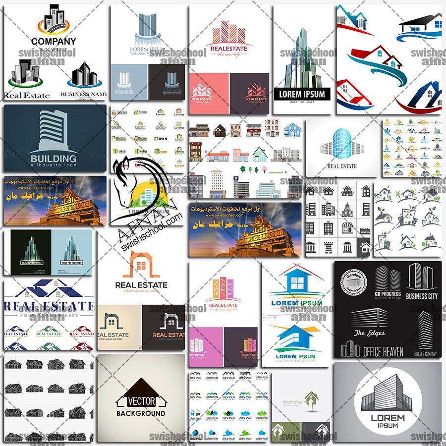 فيكتور شعارات شركات عقاريه قابله للتعديل على برنامج اليتسريتور eps