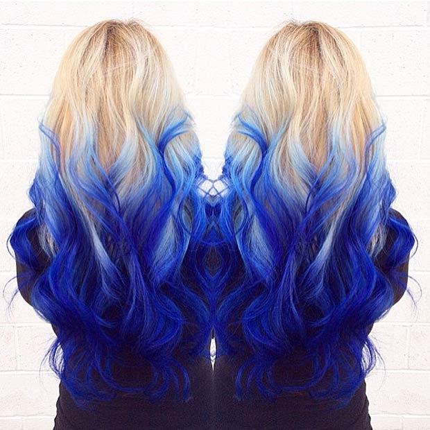 صبغ الشعر باللون الازرق موضه البنت الجريئه