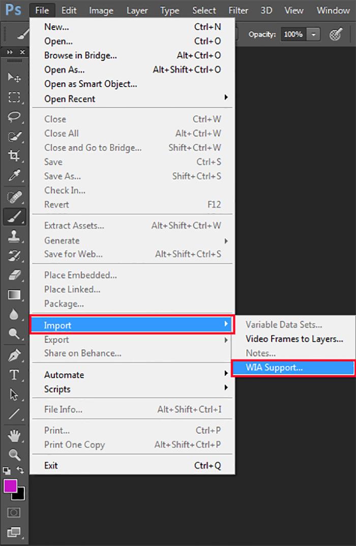 إدخال الصور عن طريق السكانر بإستخدام برنامج Adobe Photoshop CC 2015
