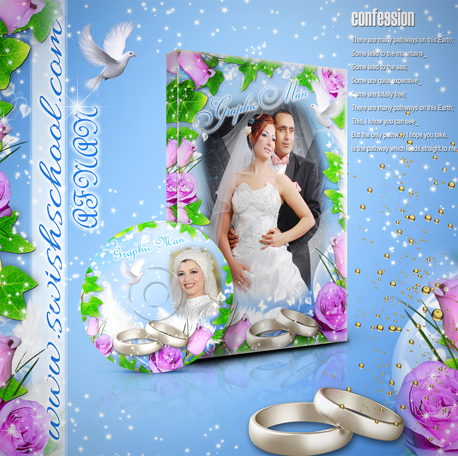 غلاف البومات التصوير ليزر للاستوديوهات زهور ملونه psd