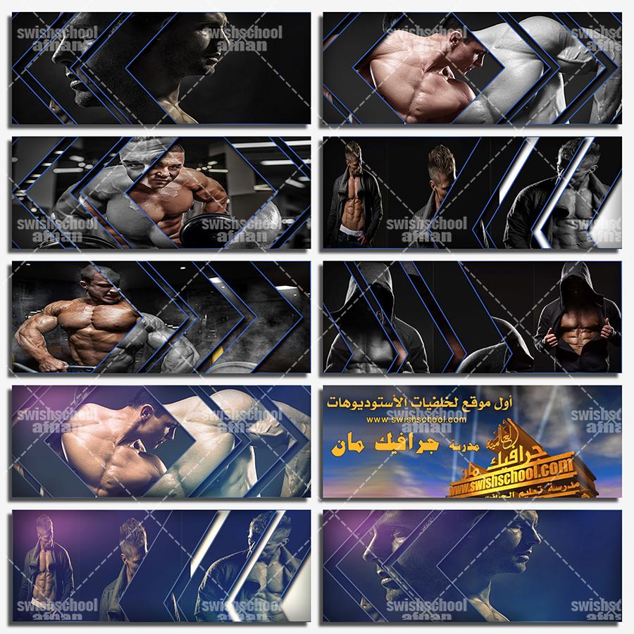 غلاف فيس بوك للشباب الرياضي و كمال الاجسام psd mockup