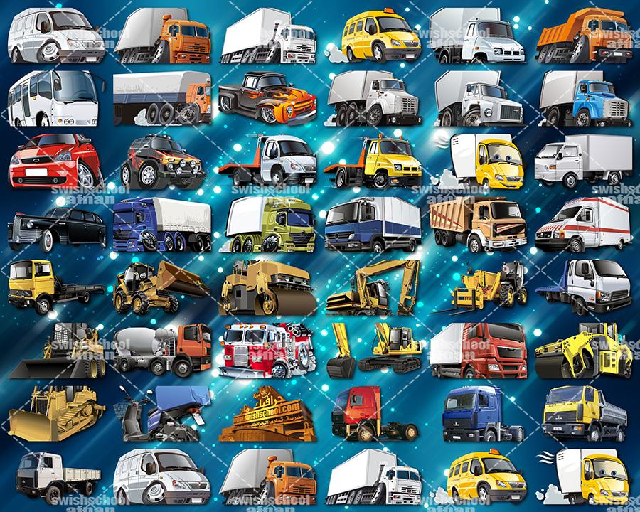 صور مفرغه عربات نقل وسيارات منوعه واتوبيسات وونشات عاليه الجوده للتصميم png