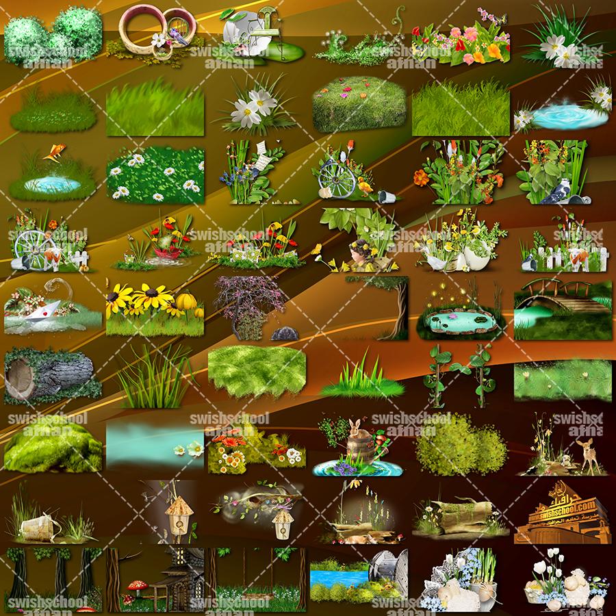 كليب ارت اشجار واعشاب وفراشات وخضره وزرع ومناظر طبيعه خضراء للتصميم