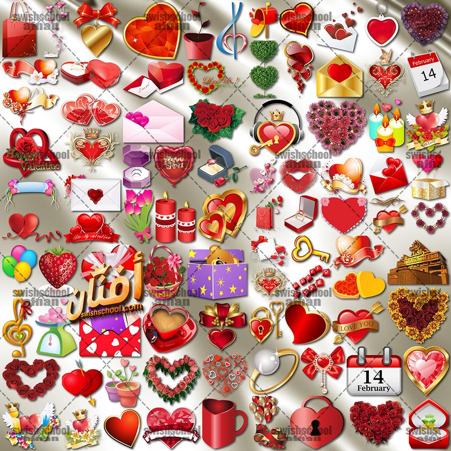 تحميل سكرابز رومانسي وقلوب لتصاميم يوم الحب png