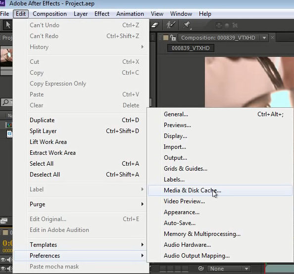 ��� ��� ����������� Adobe After Effects disk Cache