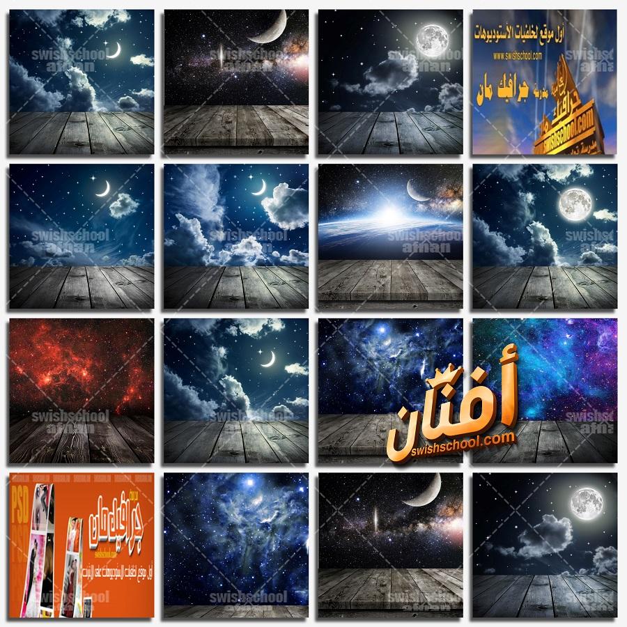 خلفيات المجرات والقمر الساحره مع ارضيه خشبيه للفوتوشوب والاستديوهات jpg
