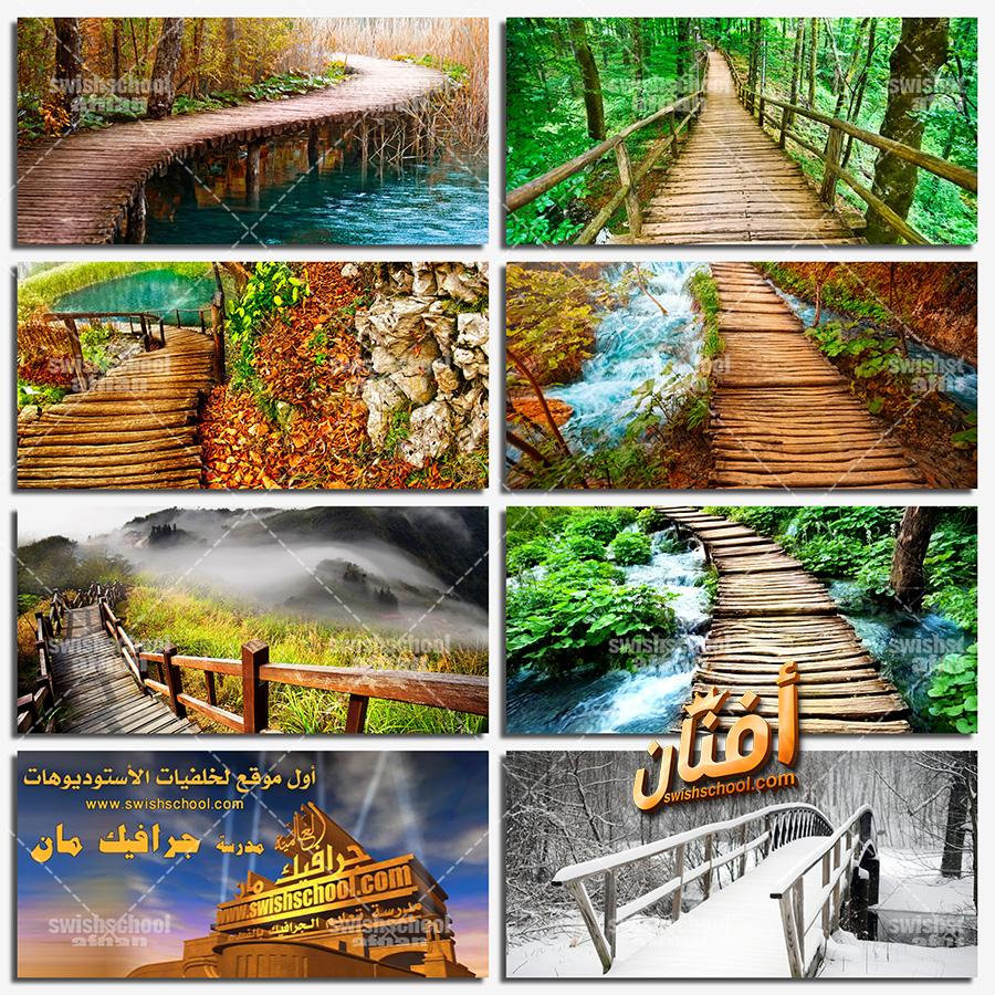 خلفيات جسور خشبيه وسط الطبيعه عاليه الجوده للفوتوشوب jpg
