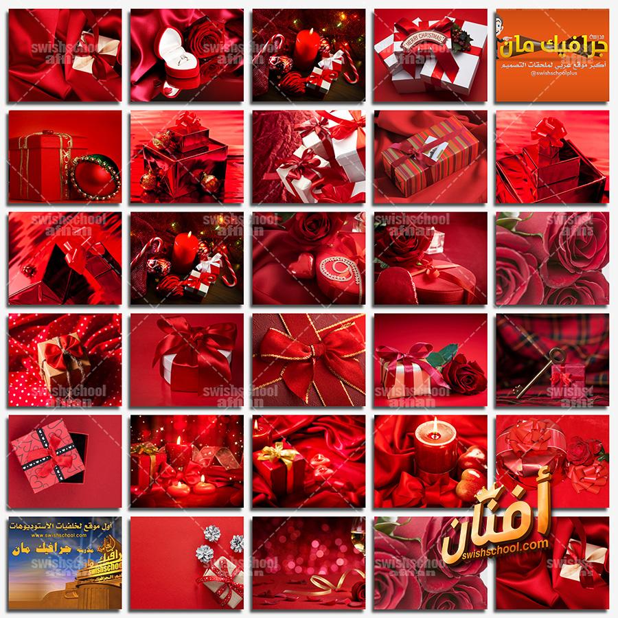 خلفيات خلفيات فوتوشوب حمراء مع علب هدايا لتصاميم المناسبات عالي الجوده Jpg مدرسة جرافيك مان