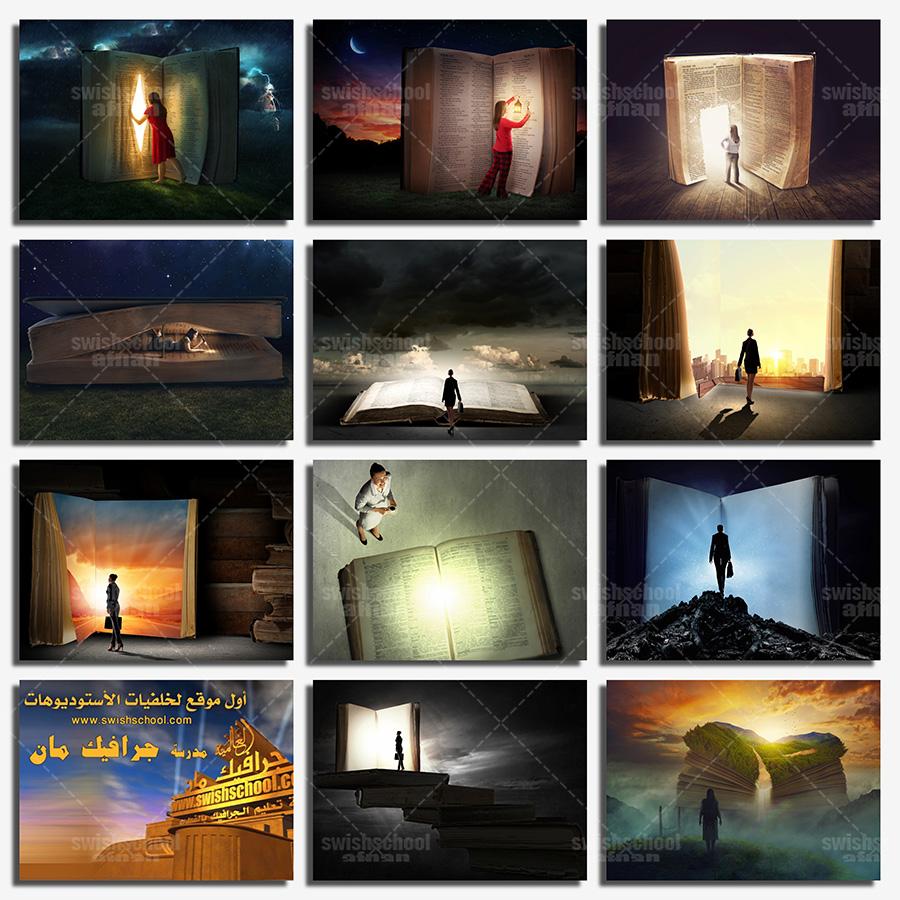 ستوك فوتو بنت مع كتاب الخيال عاليه الجوده لتصاميم الدمج في الفوتوشوب jpg