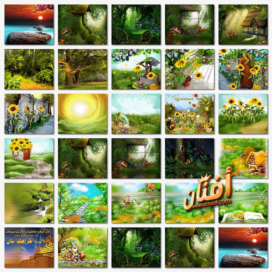 خلفيات طبيعه ومناظر خضراء لتصاميم الفوتوشوب والبومات الاستديوهات jpg