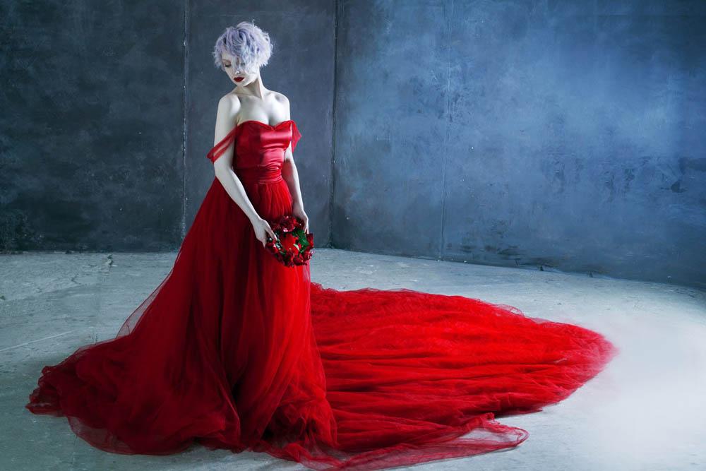 فستان احمر 4 صور بنت لابسه فستان احمر