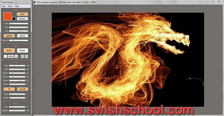 """برنامج الرسم بفرشة النار الملتهبة """" Flame Painter 1.2"""
