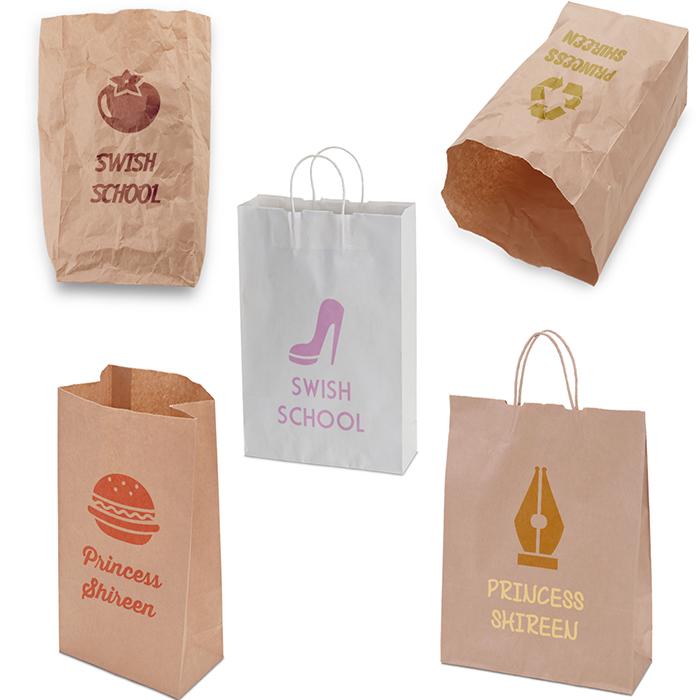 5 موك اب لعرض الشعار على اكياس طعام , موك اب اكياس طعام ورقية للدعاية والاعلان مدرسة جرافيك مان
