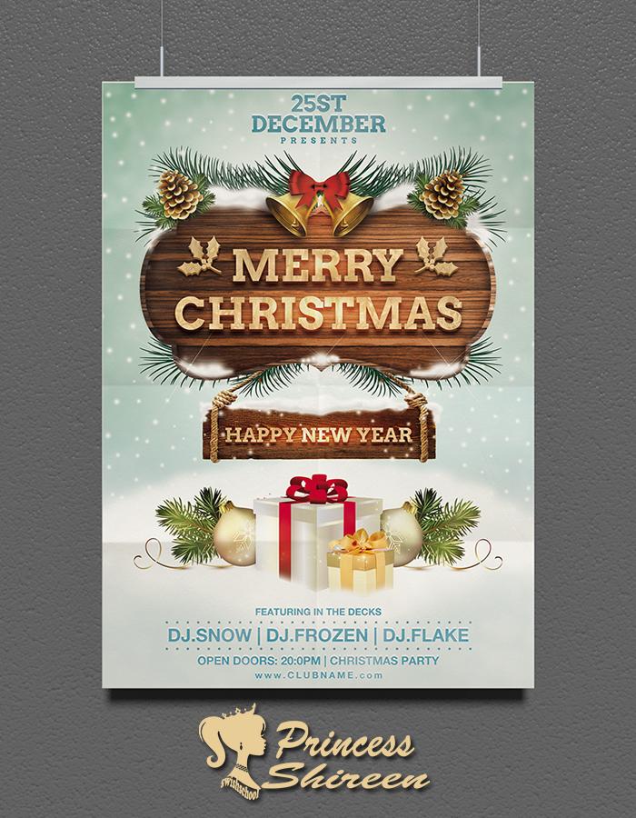 فلاير العام الجديد للتعديل عليه , psd flyer , فلاير الكريسماس cmyk للدعاية والاعلان مدرسة جرافيك مان