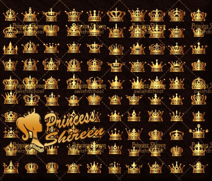 كولكشن فيكتور تيجان ذهبية , 100 فيكتور تيجان باللون الذهبى eps