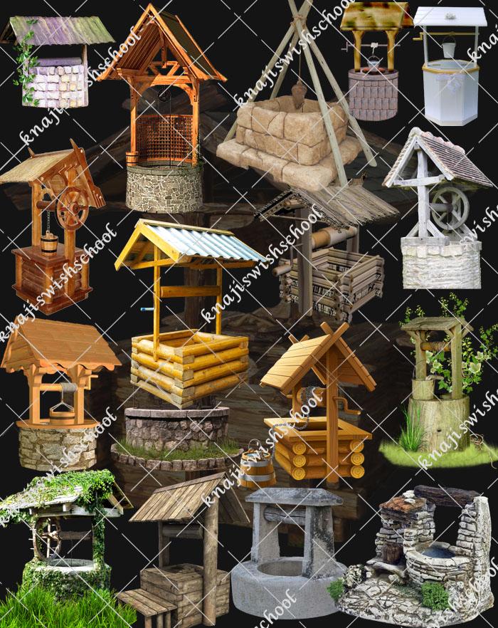 مجموعه  من الابار الخشبيه والحجريه الرائعه دون خلفيه
