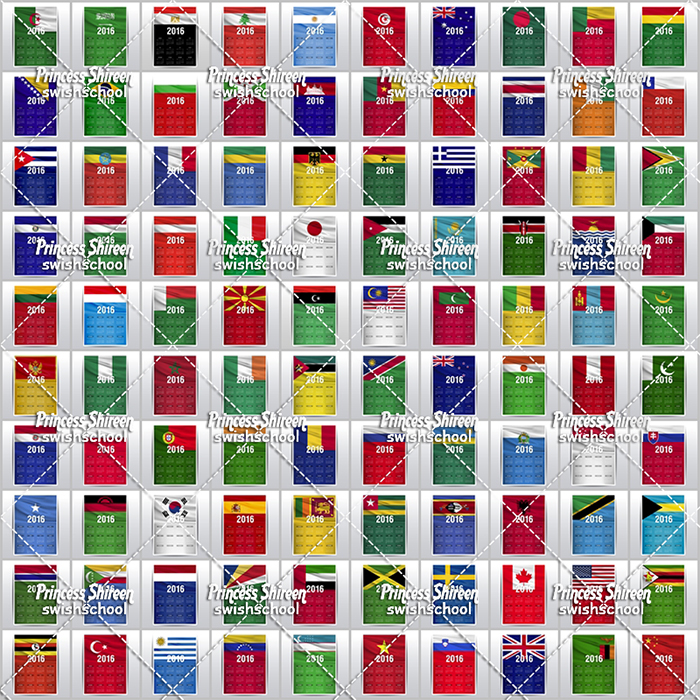 100 فيكتور كالندر للعام الجديد 2016 مع اعلام دول العالم  , 100 تقويم eps مختلفة على علم بلدك