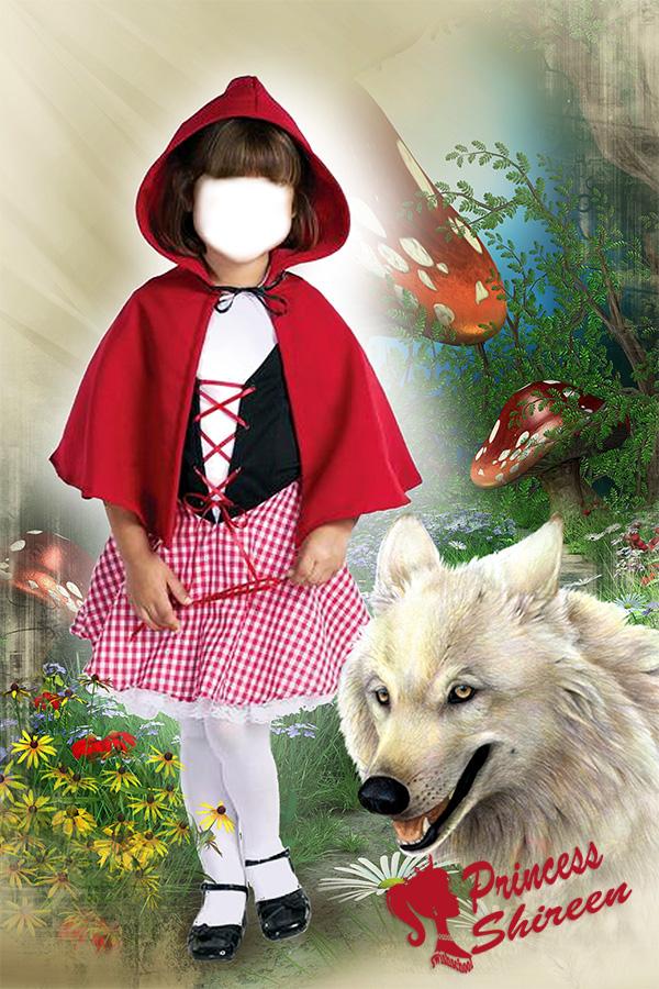 قالب تركيب وجه طفلة جميلة بملابس زات الرداء الاحمر عالى الجودة لاصحاب الاستوديوهات مدرسة جرافيك مان