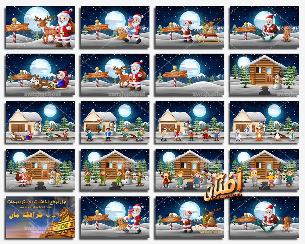 تحميل اروع خلفيات وفيكتور الشتاء والكريسماس لتصاميم السنه الجديده eps ,jpg - الجزء الاول