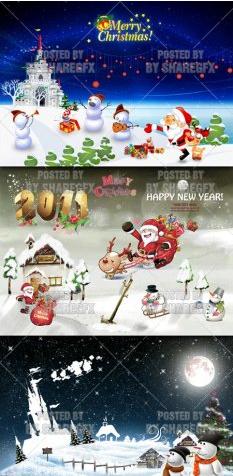 اقوى تصاميم الكريسماس لعام 2011 Christmas And New Year psd