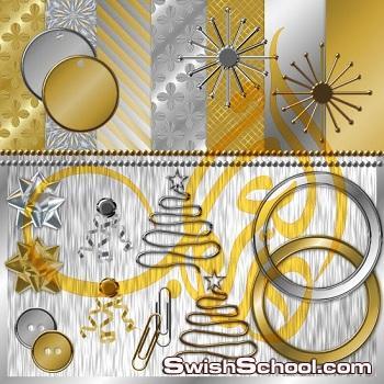 خلفيات وأيقونات ذهبية وفضية عالية الدقة غاية في الجمال
