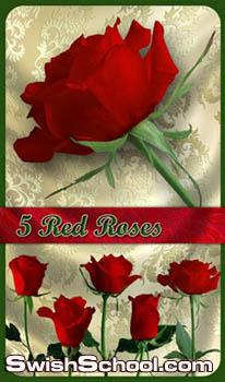 اطار رومانسي احمر ووورد جوري مقصوص