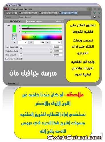 ازاله خلفيات الكروما بالسوني فيغاس باستخدام فلتر chroma keyer