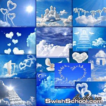 خلفيات بلون ازرق سماوي مع قلوب وطيور بيضاء وسحب