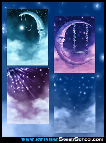 خلفيات غموض وروعه القمر للتصميم Mystic Moon backgrounds