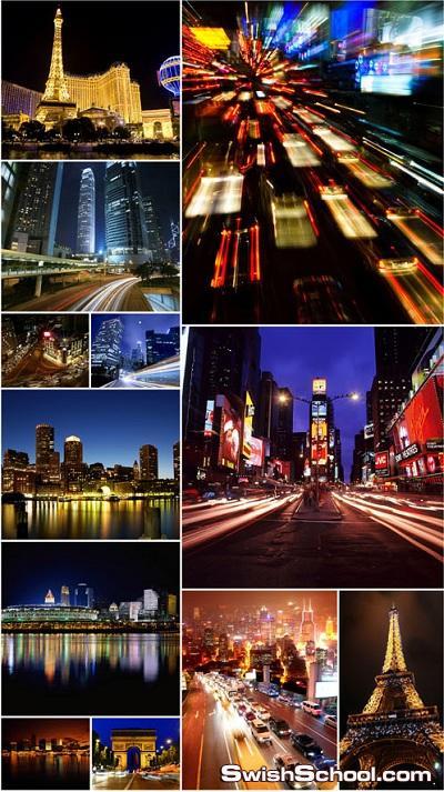 خلفيات عاليه الجوده لمدن اثناء الليل للتصميم Night Cities