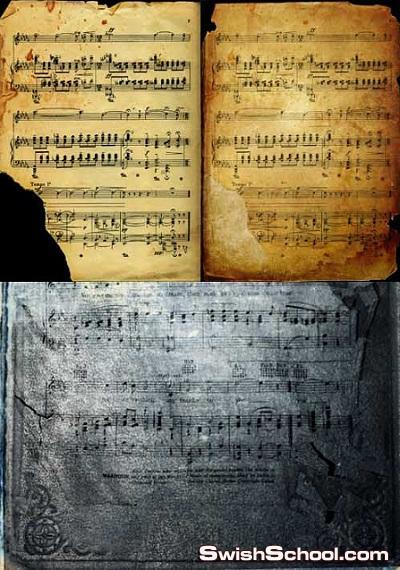 خلفيات نوت موسيقيه قديمه للتصميم Music background