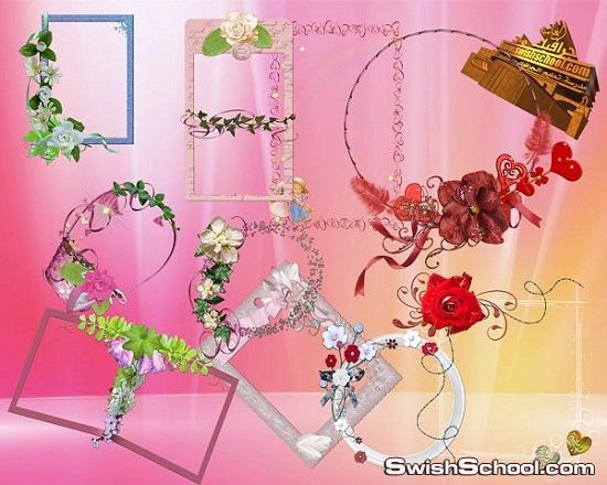 فريمات مقصوصه  مع الزهور بدون خلفيه للتصميم  psd