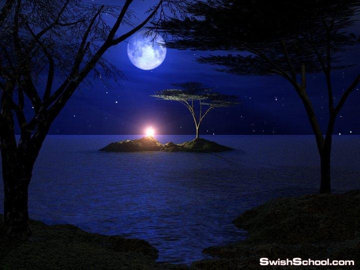 روعه  القمر وسحر الليل  في صور رائعه