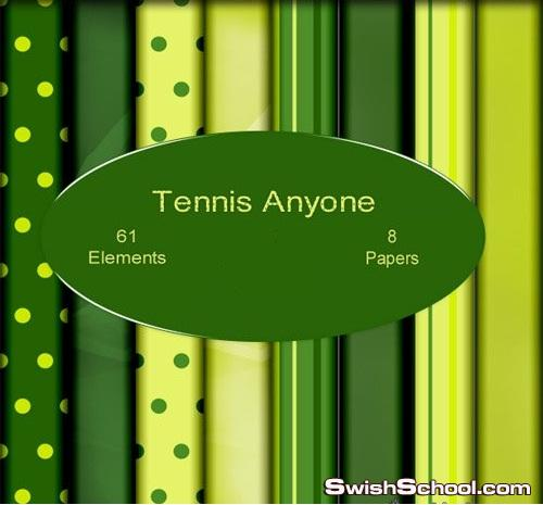 سكرابز كول باللون الاخضر كره ومضرب وتنس Tennis Anyone