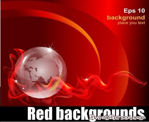 4 خلفيات فيكتور باللون الاحمر Red backgrounds 4 eps