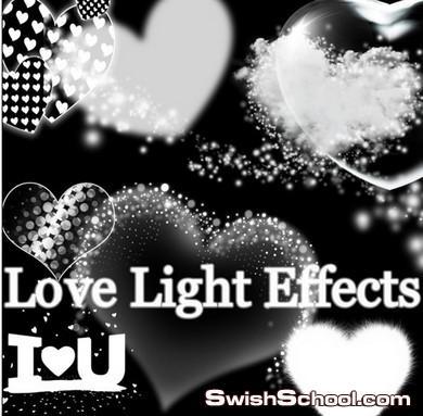 اكبر مكتبة تاثيرات ضوئيه  وقلوب رومانسيه وخطوط مضيئه Light Effects psd ,png