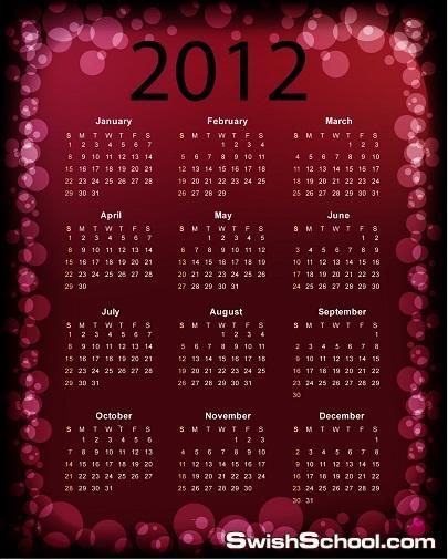 فيكتورات لتقويم  السنه الجديده Calendar 2012Vector