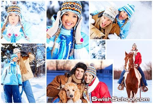 خلفيات شباب وبنات مرحه وسط الثلوج عاليه الجوده للتصميم  Winter People 2012