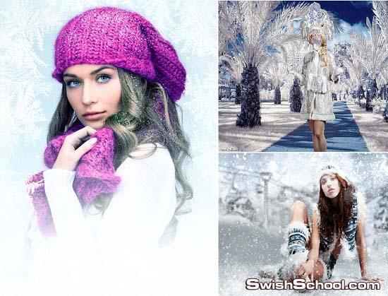 قوالب تركيب وجوه لسيدات في الشتاء والثلج  A Woman in Winter