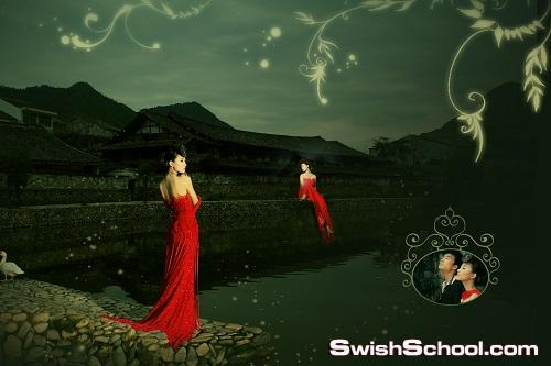 الجزء الثاني من خلفيات زفاف جرافيك رومانسيه باللون الاحمر ملفات مفتوحه بي اس دي romantic graphic 2012 psd