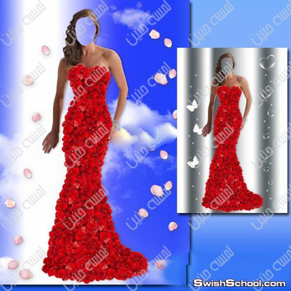 قوالب امراه Women's template for Photoshop – In the petals of roses