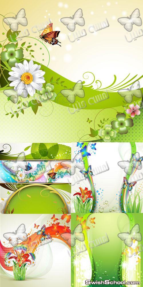 خلفيات فيكتور خضراء مع زهور رائعه Victor backgrounds green with wonderful flowers