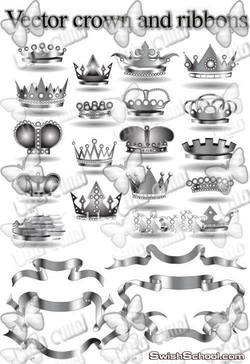 تاج وشرائط فيكتور باللون الفضي رائعه crown and ribbons